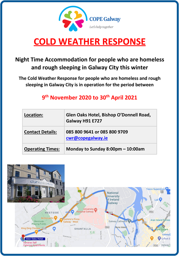 Poster with information on COPE Galway Cold Weather Response